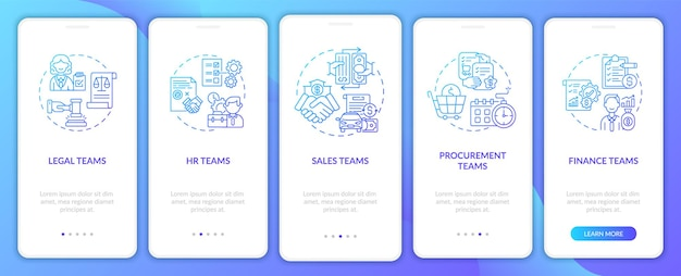 Установлены экраны страниц мобильного приложения для пользователей программного обеспечения для управления контрактами