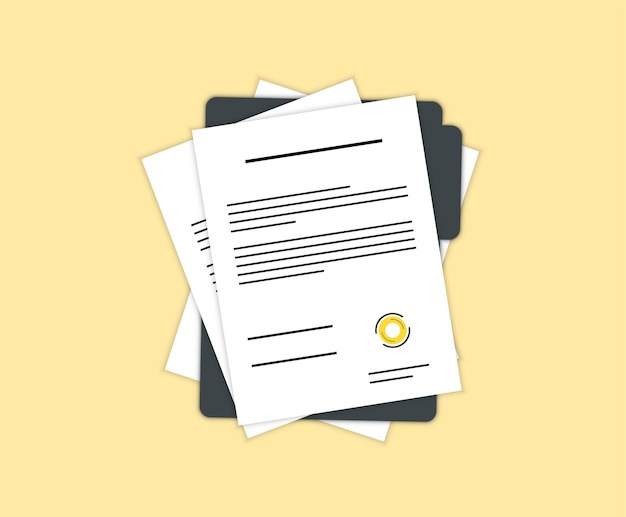 계약 또는 문서 서명 아이콘입니다. 문서, 스탬프 및 텍스트가 있는 폴더. 계약 조건, 연구 승인 확인 문서. 계약서. 문서. 스탬프와 텍스트가 있는 폴더.