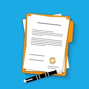계약서. 문서. 스탬프와 텍스트가 있는 폴더. 텍스트가 있는 문서. 펜으로 백서의 폴더 및 스택