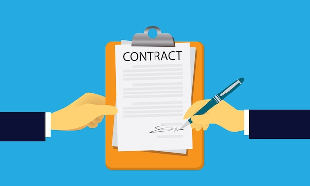 Contract signing legal agreement concept. vector illustration