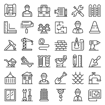 Contractor icons set, outline style