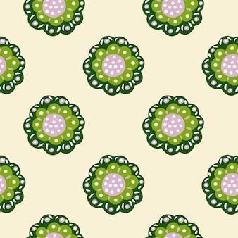 緑の抽象的な民謡の形と対照的な花の植物のシームレスなパターン。