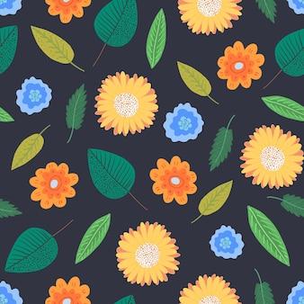 繊細な漫画の緑の葉とオレンジ色の花と花のシームレスなパターンを対比