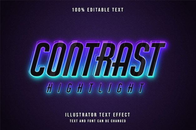 Contrast highlight, editable text effect blue gradation pink neon style effect