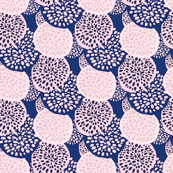 Contrast random dot circles seamless pattern. endless backdrop with pink and blue geometric ornament.