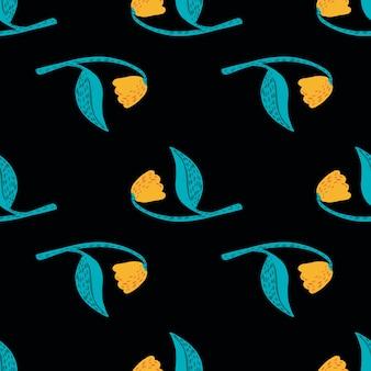 Противопоставьте бесшовные цветочный узор с элементами желтого и синего цвета.