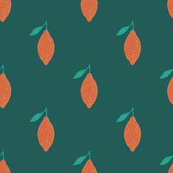 夏のシームレスなパターンとビタミンオレンジレモンの飾りを対比させてください。緑の背景。ストックイラスト。テキスタイル、ファブリック、ギフトラップ、壁紙のベクターデザイン。