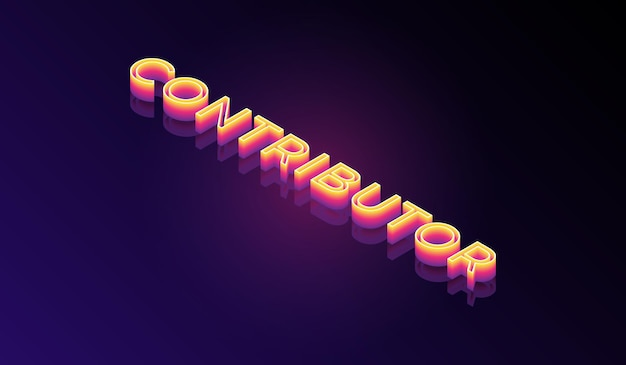 그라디언트 색상 벡터 파일이 있는 기여자 아이소메트릭 3d 텍스트 효과 스타일