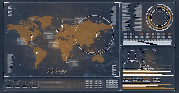 미래 지향적인 디지털 인터페이스 레이더 hud 토포그라가 있는 위성에서 제어 센터 hud 지형 보기