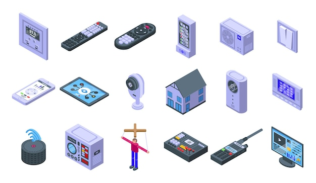 Control icons set. isometric set of control  icons for web