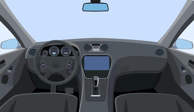 Панель управления и вид на лобовое стекло с передних сидений. панель приборов и рулевое колесо в машине.