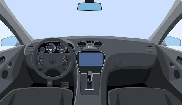 Control panel and windscreen view from front seats. dashboard and steering wheel in car.