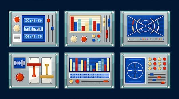 Control panels. set of consoles.