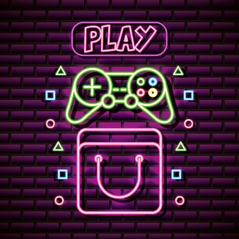 Control an play in neon style, video games related