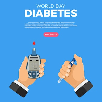Контролируйте свою концепцию диабета с помощью рук и глюкометра Premium векторы
