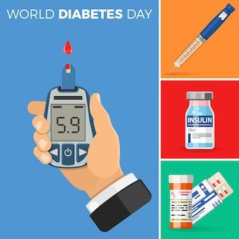 당뇨병 개념을 제어하십시오. 세계 당뇨병의 날. 손에는 혈당 측정기가 있습니다. 인슐린 펜 주사기, 알약 및 인슐린 유리병. 고립 된 벡터 일러스트 레이 션