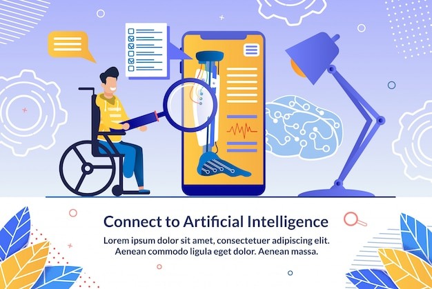 Controlled by ai robotic prosthesis vector banner