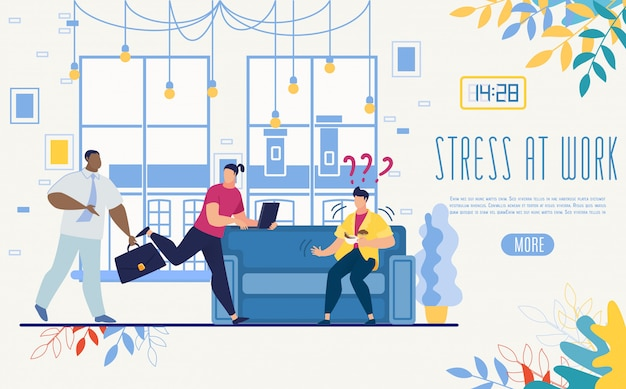 Controlling stress at work startup vector website