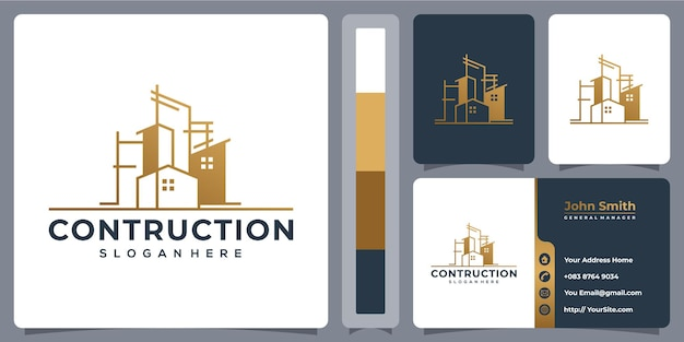 Contruction architecture logo design with business card template