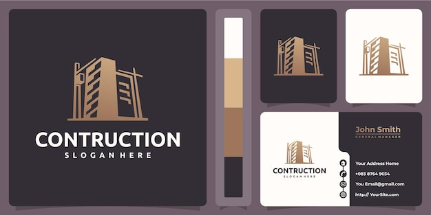 Contruction building logo with business card template
