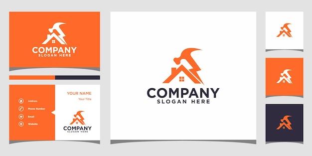 建設家のロゴデザインと名刺プレミアムベクトルプレミアムベクトル