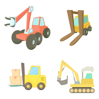 Contruction vehicle icon set