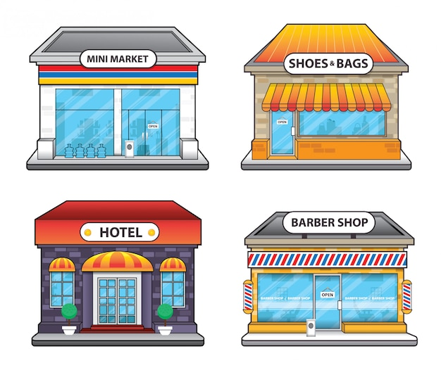 Convenience store hotel and barber shop building illustration