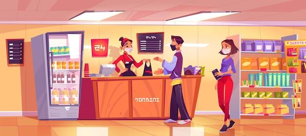カウンターに女性売り手、行列に並ぶコンビニエンスストア。