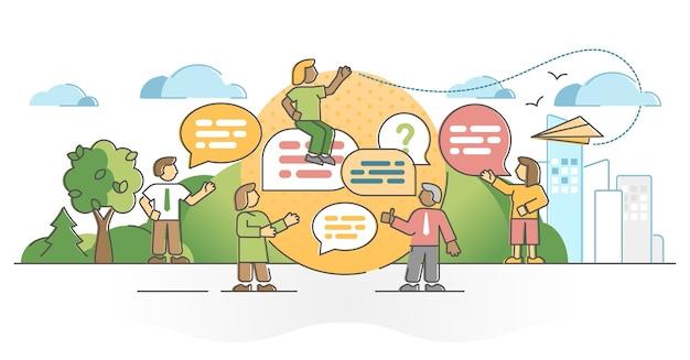ダイアログトークまたはディスカッションスピーキングプロセスの概要の概念としての会話。スピーチメッセージの象徴的な対話バブルイラストとの社会化とコミュニケーションシーン。情報転送
