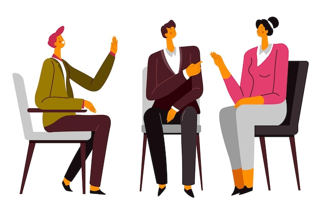 Conversation of couple with psychologist on consultation. wife and husband resolving family problems and troubles in relationship. discussion and communication with specialist vector in flat style