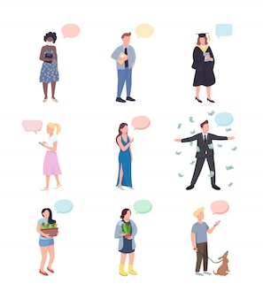 Conversation flat color faceless characters set. gardener with cactus. dog owner. woman with champagne. people with speech bubbles isolated cartoon illustrations on white background