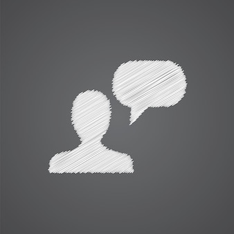 Conversation sketch logo doodle icon isolated on dark background