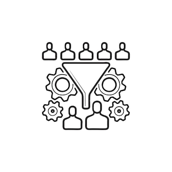人とギアの手描きのアウトライン落書きアイコンと変換漏斗。コンバージョン率の最適化の概念