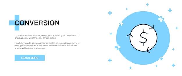 Значок преобразования, концепция шаблона контура баннера. дизайн иллюстрации линии конверсии