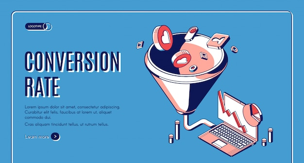 Conversion rate isometric web banner