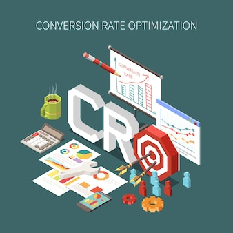 Conversion rate optimization and client targeting concept illustration