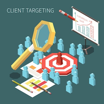 Conversion rate optimization and client targeting isometric illustration