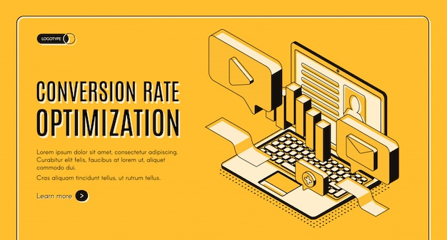 Banner di web di vettore isometrico di ottimizzazione del tasso di conversione