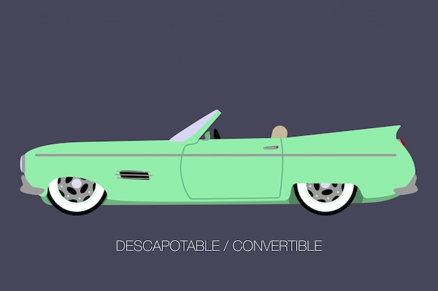 Convertible car, side view, flat design style