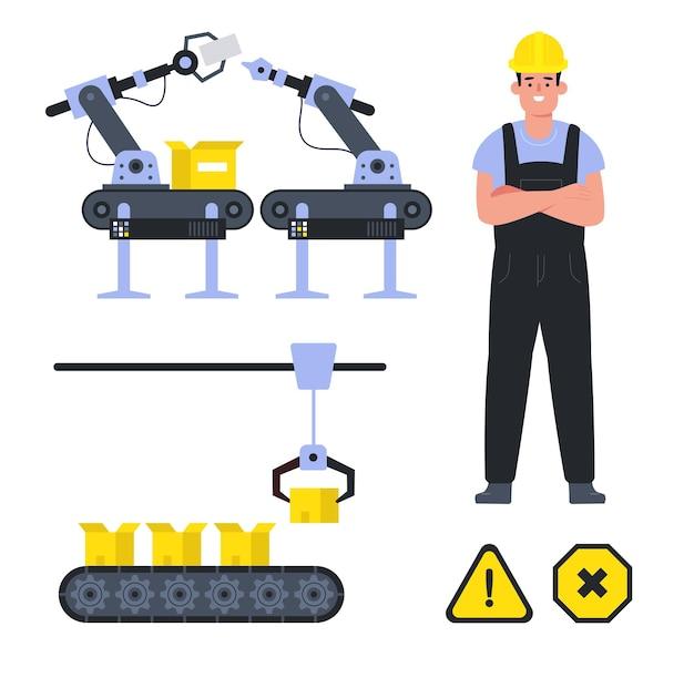 コンベヤーと男性労働者の追加の警告産業標識