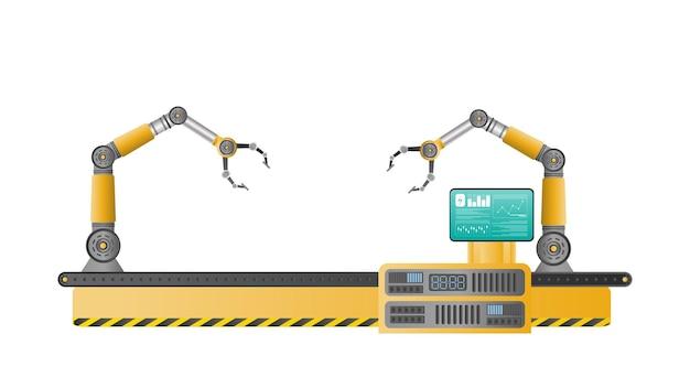 로봇 조작기로 가득 찬 컨베이어 자동 생산 라인. 자동 작동. 산업용 로봇 매니퓰레이터. 현대 산업 기술입니다. 제조 공장용 기기. 절연, 벡터