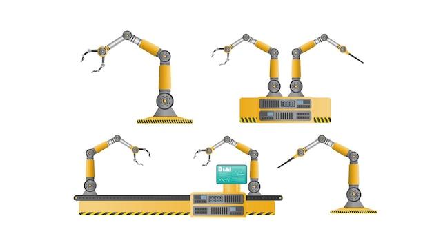 ロボットマニピュレーターでいっぱいのコンベア自動生産ライン。自動運転。産業用ロボットマニピュレーター。現代の産業技術。製造工場向けの電化製品。分離された、ベクトル