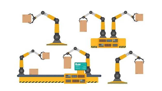 로봇 조작기로 가득 찬 컨베이어 자동 생산 라인.