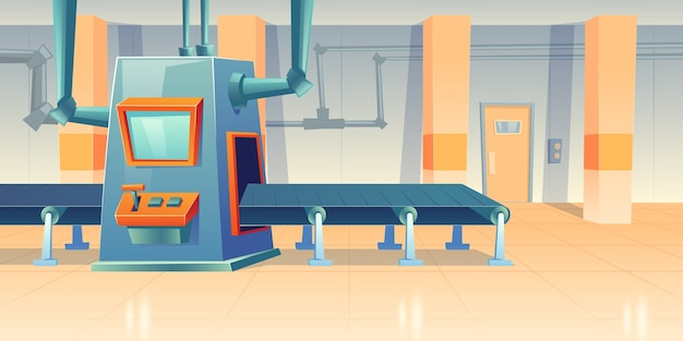 Conveyor belt and assembly machine at factory, plant or warehouse. cartoon interior of workshop production line with automated machinery. engineering equipment on manufactory