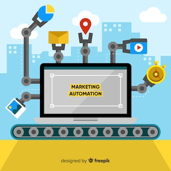 Conveyor belt marketing automation background