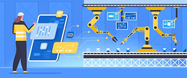 Conveyor configurations flat vector illustration. futuristic factory worker cartoon character.