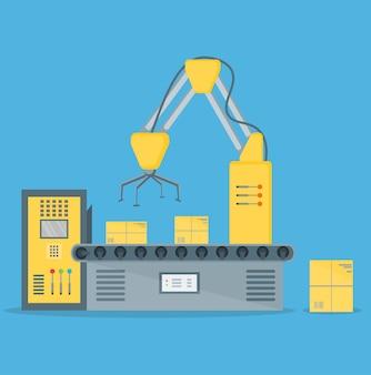 Конвейер полностью автоматическая упаковка оператора производственной линии.