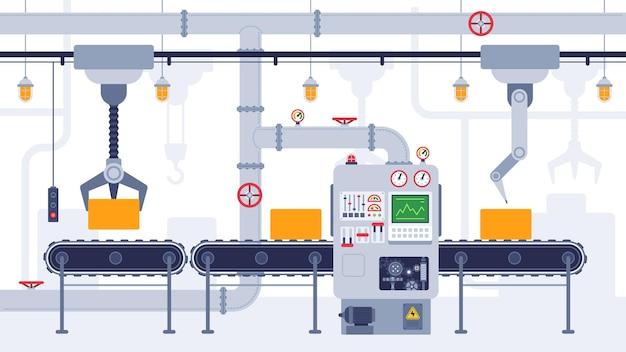 컨베이어. 산업용 컨베이어 벨트, 제조 장비, 제품 운송 프로세스, 효율적인 자동화 생산 벡터 개념. 자동 기계가 있는 상자가 있는 자동 생산 라인