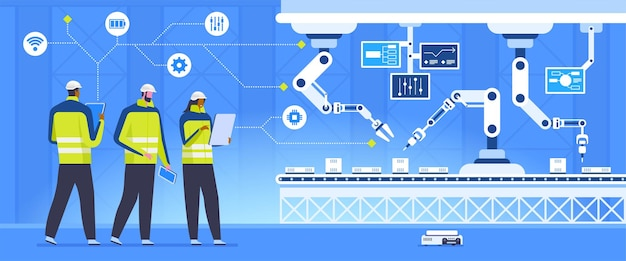 Conveyor inspection vector illustration. smart industry, automated assembling line with robotic arms