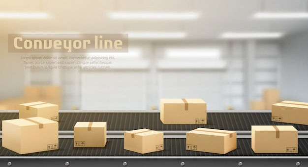Conveyor line with carton boxes side view, industrial processing production belt, automated manufacturing engineering equipment on factory area blurred background